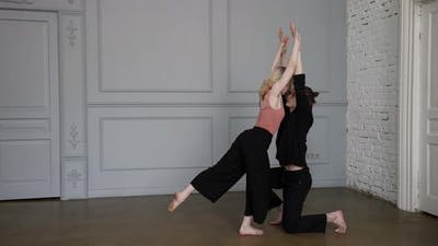 Contemporary Dancers are Practicing Modern Dance in Rehearsal Hall