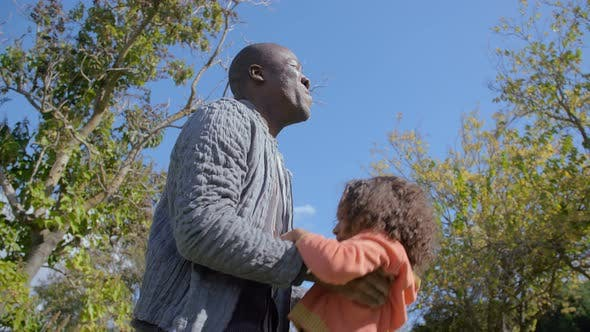 Cover Image for Cheerful African American Father Throwing Up Happy Daughter in Summer Park