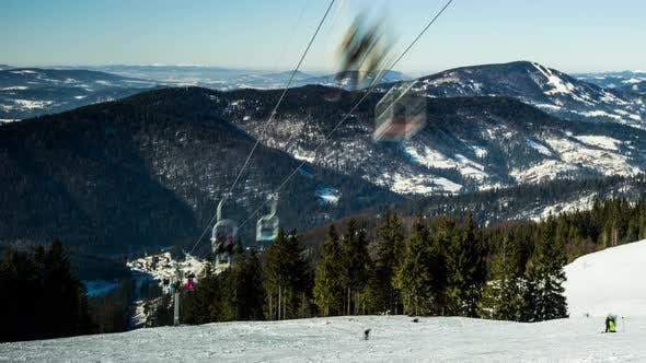 Thumbnail for Ski Lift at Ski Resort in Sunny Carpatian Mountains, Time Lapse