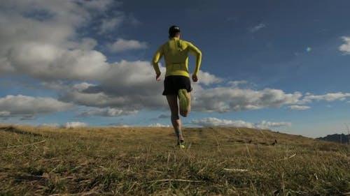 Slow Motion Of Mountain Runner