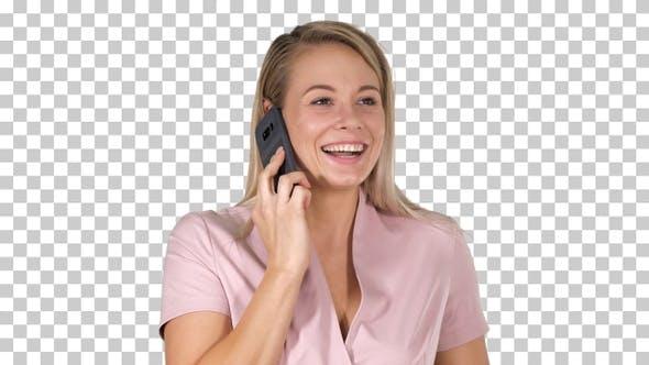 Thumbnail for lachend blonde Geschäftsfrau mit ein lustiges Telefongespräch