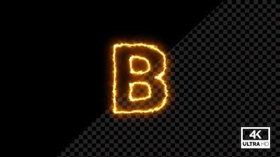 Burning Alphabet Shape B Fire Animation