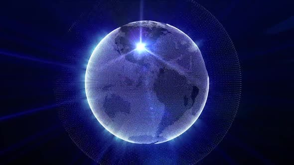 Hologram Earth Rotation Technology And Stars Cool Background