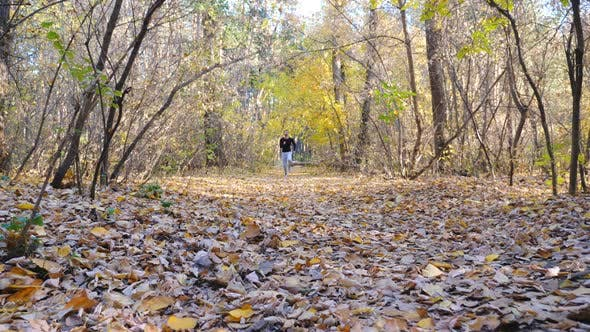 Thumbnail for Young Man Running Fast Along Forest Path. Strong and Endurance Athlete Working Out at Nature. Sporty