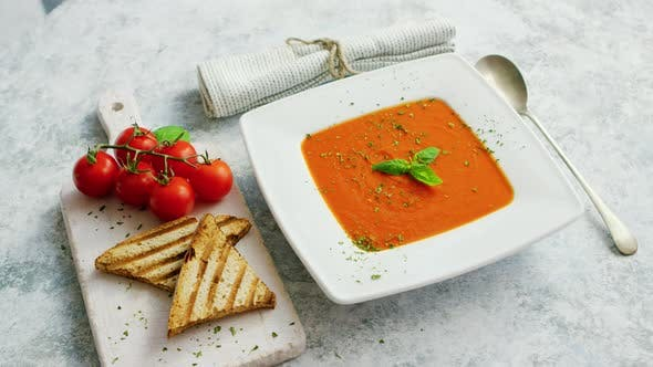 Thumbnail for Tomato Soup Served with Crisp Bread