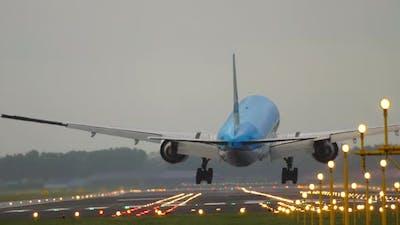 Airplane Landing Back View