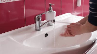 Prevention of coronavirus pandemic wash hands with soap