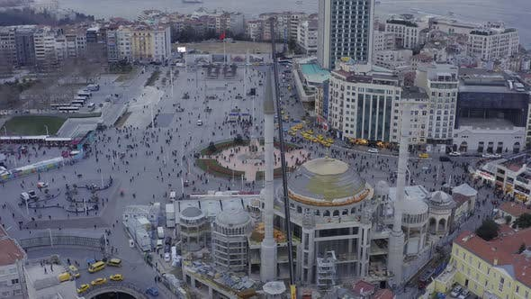 Thumbnail for Istanbul Bosphorus Taksim Square And Mosque Construction Aerial View 22