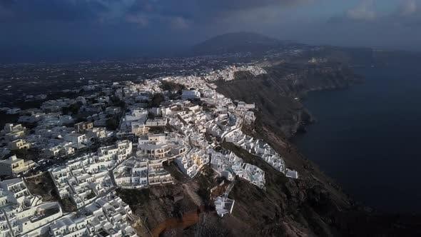 Aerial Panorama of Imerovigli and Skaros Rock, Santorini
