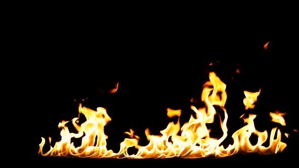 Real Fire shot in 50 fps and isolated on black background.