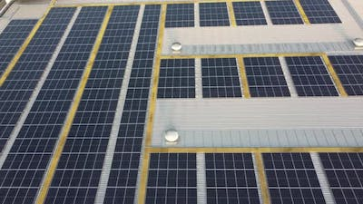 Solar power panel on top of rooftop