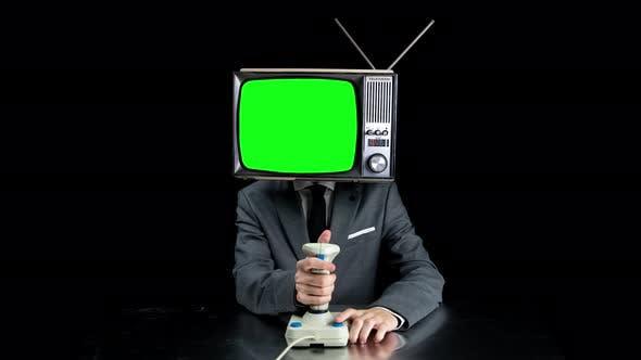 Man TV Head Playing Video Games