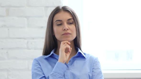 Thumbnail for Hispanic Thinking Woman Gesturing  Brainstorming