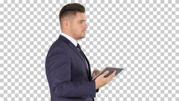 Thumbnail for Young businessman touching digital tablet, Alpha Channel