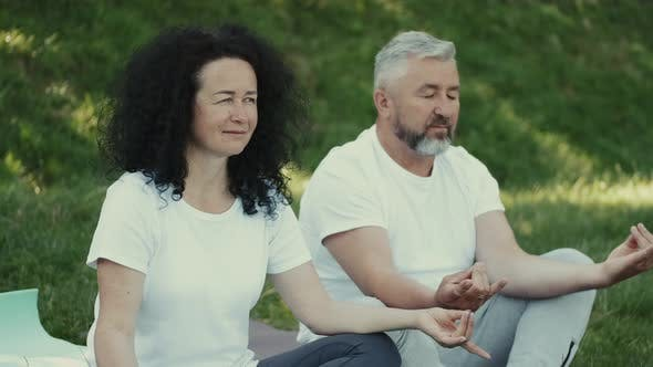 Thumbnail for Wife and Husband Are Meditating Together Sitting on the Lawn in a Park