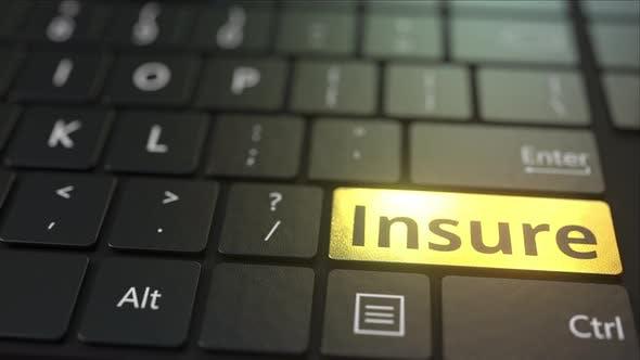 Thumbnail for Black Computer Keyboard and Gold Insure Key