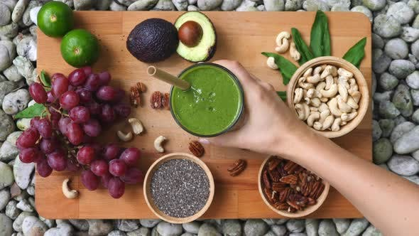 Healthy Diet With Green Detox Smoothie
