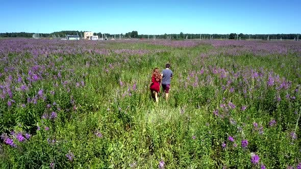 Thumbnail for Beautiful Lady and Young Man Move Across Wide Violet Field