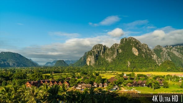 Thumbnail for 4K Time-Lapse of the Scenic Limestone Cliffs Countryside in Vang Vieng, Laos