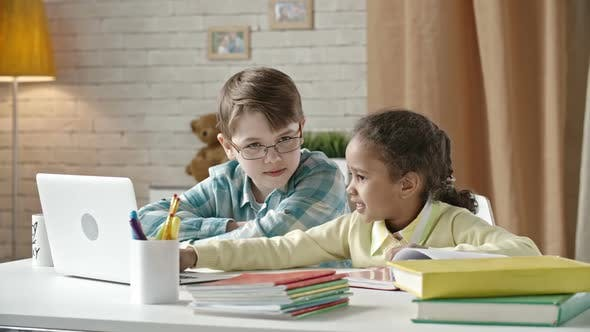 Kids Working on Laptop
