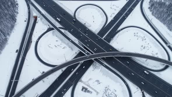Thumbnail for Freeway Intersection Snow-Сovered in Winter