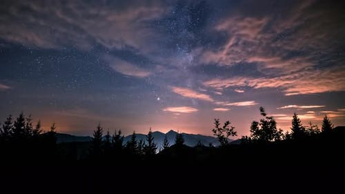 Astronomy Night Milky Way Galaxy Stars and Clouds Sky in Forest Mountain