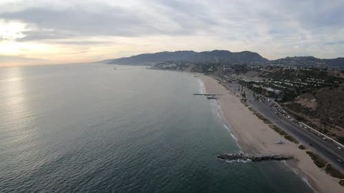 Pacific Coast Hwy Pacific Palisades Ca Aerial Flight Above Beach