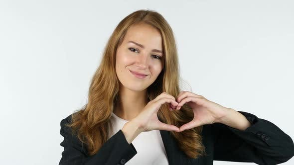 Thumbnail for Businesswoman Making Heart With Hands , Peace ,White background