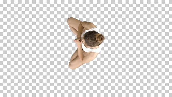 Young caucasian blonde woman practicing yoga, Alpha Channel