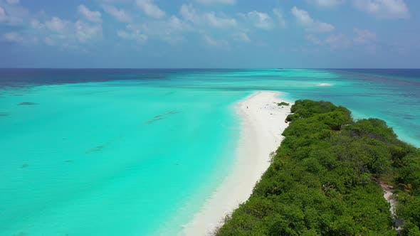 Thumbnail for Beautiful fly over abstract view of a sunshine white sandy paradise beach and turquoise sea backgrou