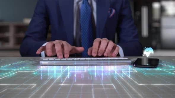 Cover Image for Businessman Writing On Hologram Desk Tech Word  Quantum Computing