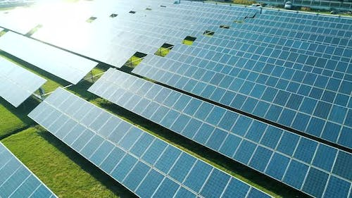 Aerial View of Solar Panels Farm (Solar Cell) with Sunlight
