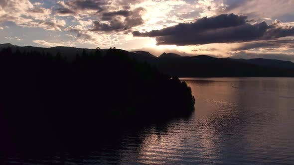 Thumbnail for Flying over Hebgen Lake at sunset