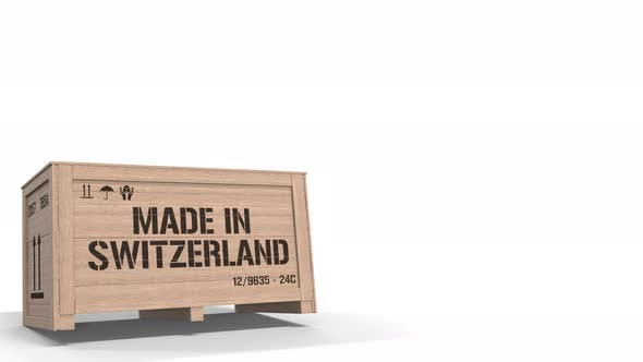 Thumbnail for Wooden Crate with MADE IN SWITZERLAND Text