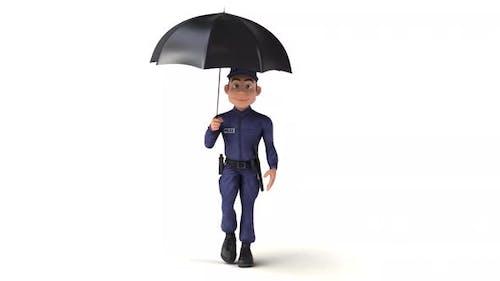 Fun 3D cartoon police man walking with an umbrella