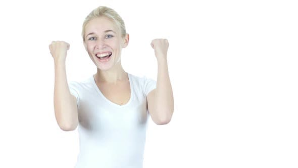 Reaction to Success, Woman Cheering