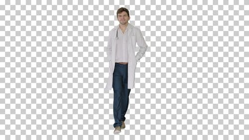 Male doctor in white coat walking with, Alpha Channel