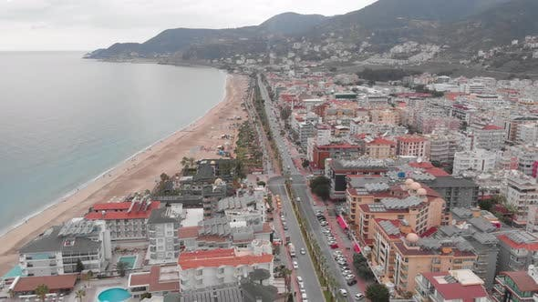 Modern resort city with residential complex buildings, hotels and coastline, Alanya, Turkey