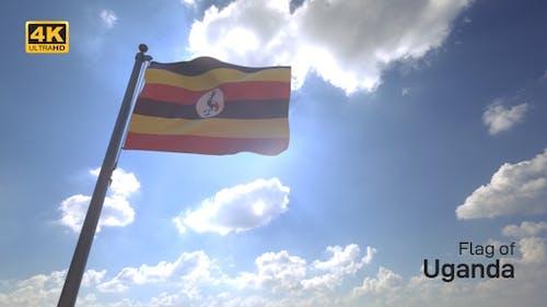 Uganda Flag on a Flagpole V4 - 4K