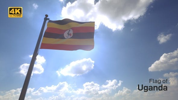 Uganda Flag on a Flagpole V4 - 4K