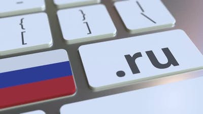 Russian Domain .Ru and Flag of Russia on the Buttons