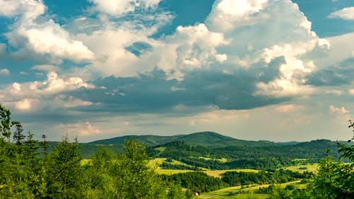 Clouds over Beskid mountains.