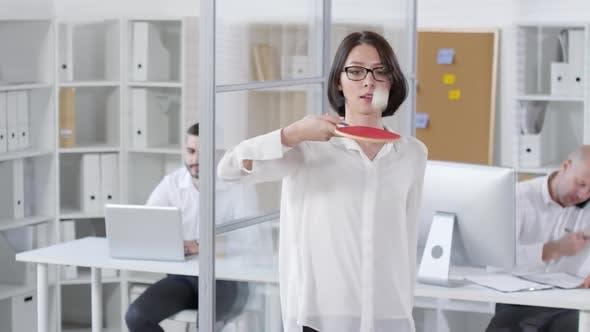 Thumbnail for Young Brunette Enjoying Active Office Break