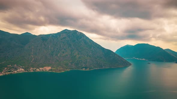 Adriatic Sea, Boka Kotor Bay, the Movement of Clouds Over the Mountains in Montenegro Timelapse Shot