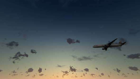 Thumbnail for 4K Airplane Sunset Takes Off