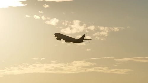 - Airplane Flying at Sunset