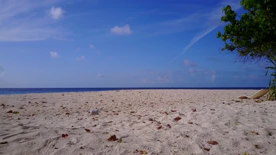 Thumbnail for Tropical flying tourism shot of a white sandy paradise beach and blue sea background in colourful
