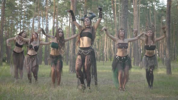 Group of Women Dancers with Make-up and in Mystical Costumes