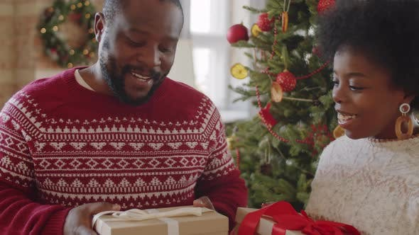 Afro-American Couple Holding Xmas Gifts and Talking at Home
