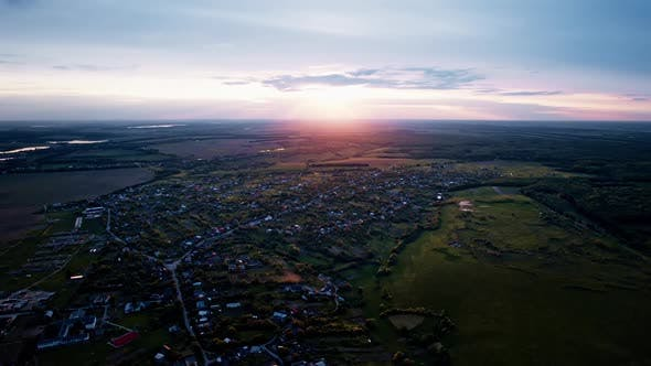 Aerial View of Beautiful Village in at Sunset in Summer